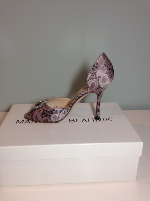 Manolo Blahnik Pink/ Black Satin Lace Peep Toe Pump with Crystal Top Formal Shoes Size EU 36 (Approx. US 6) Regular (M, B) Manolo Blahnik Pink/ Black Satin Lace Peep Toe Pump with Crystal Top Formal Shoes Size EU 36 (Approx. US 6) Regular (M, B) Image 5
