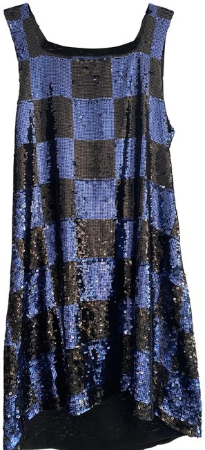 Alice + Olivia Blue Black Sequin Color Sleeveless Shift Short Night Out Dress Size 8 (M) Alice + Olivia Blue Black Sequin Color Sleeveless Shift Short Night Out Dress Size 8 (M) Image 1
