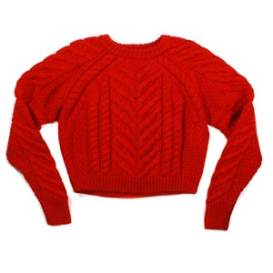 Item - Cropped Versus Chunky Cable Knit Us 4 - 36 Red Sweater