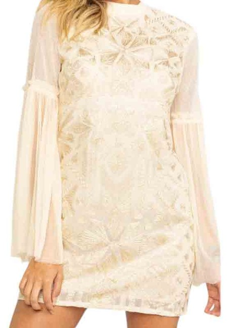 Item - Cream Cleo Embroidered Bell Sleeve Mini Short Cocktail Dress Size 8 (M)