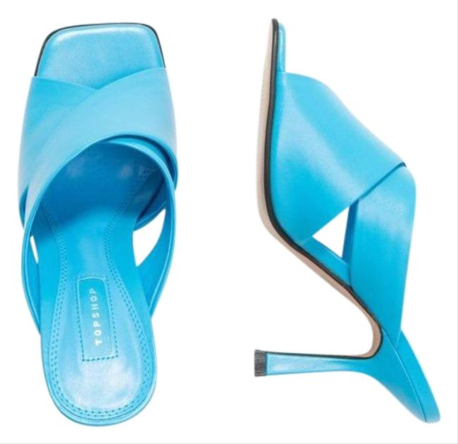 Item - Blue Skyla Square Toe Open Toe Stiletto Heel Mules/Slides Size US 9.5 Regular (M, B)