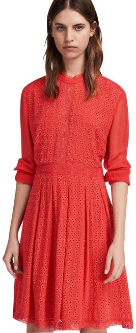 AllSaints Coral Red Lilith Eyelet Mid-length Short Casual Dress Size 6 (S) AllSaints Coral Red Lilith Eyelet Mid-length Short Casual Dress Size 6 (S) Image 1