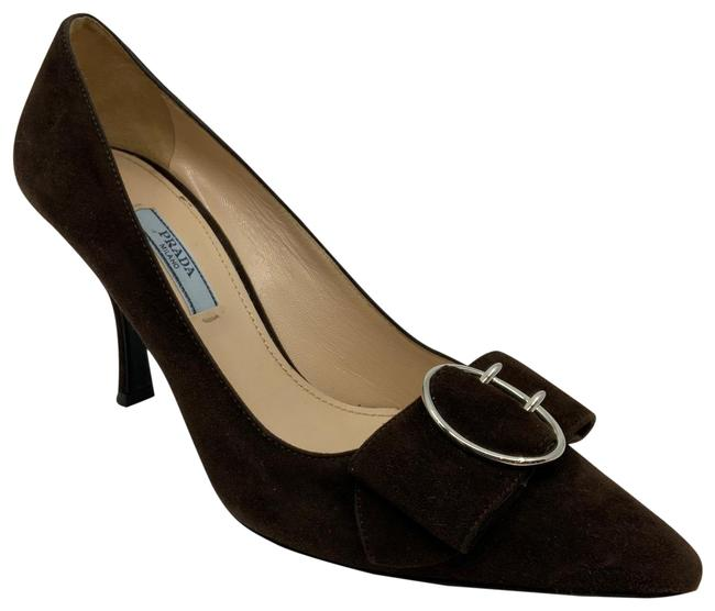 Item - Brown Suede Buckled Bow Kitten Pumps Size US 6.5 Regular (M, B)