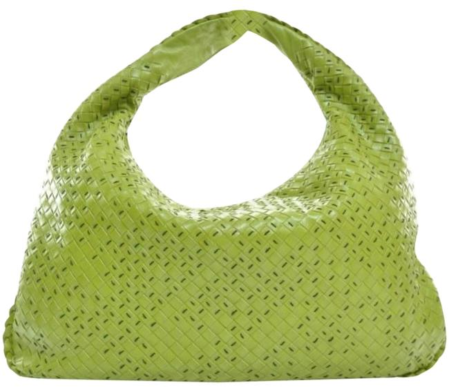Item - Top Stitched Intrecciato Woven Large Lime Green Leather Hobo Bag