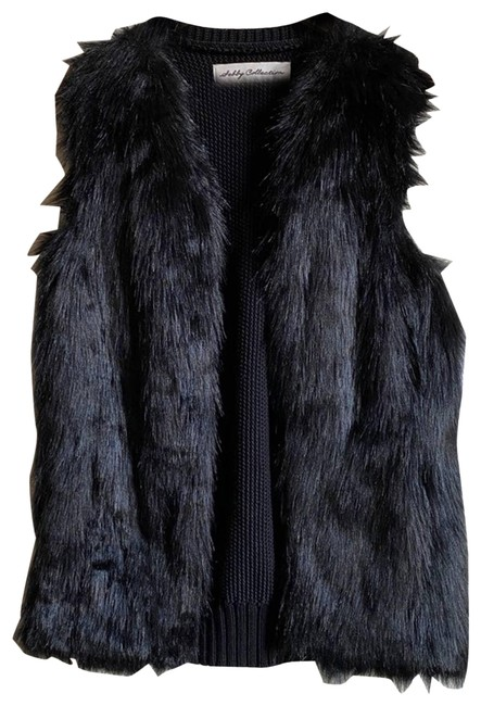 Item - Black L Collection Faux Fur Sweater Mixed Media Open Vest Size 12 (L)