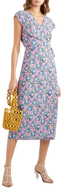 Item - Pink Blue Floral Print Soft Drapey Rayon Wrap Midi Mid-length Short Casual Dress Size 8 (M)