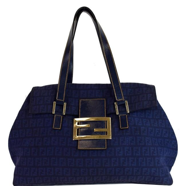 Item - Zucchino Mamma Monogram Blue Canvas and Leather Shoulder Bag