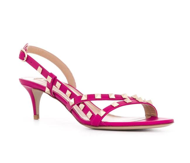 Item - Pink Rockstud Flair Blossom Kitten Heel Classic Strappy Spike D068 Sandals Size EU 36 (Approx. US 6) Regular (M, B)