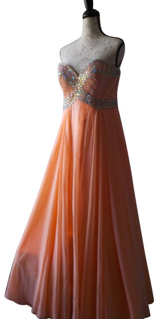 Item - Pink Maxi Salmon Special Occasion 80254 Long Formal Dress Size 10 (M)