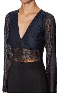 For Love & Lemons Revolve Revolve Clothing Top Black lace on Navy
