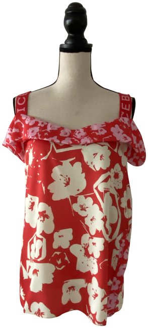Item - Red Pink Floral Print Us M Blouse Size 8 (M)