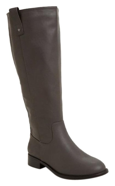 Item - Gray Zip Back Faux Leather Knee-high Boots/Booties Size US 6.5 Wide (C, D)