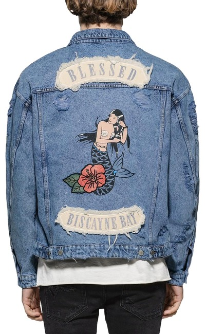 Item - Blue Multiple M Men's Mermaid Embroidered Jacket Size 10 (M)