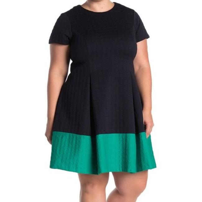 Item - Blue Short Sleeve Colorblock Navy Mid-length Work/Office Dress Size 14 (L)