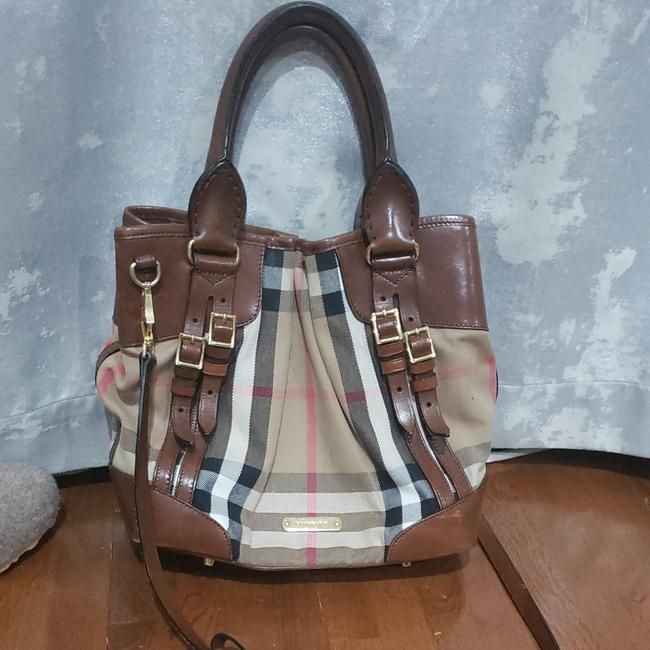 Item - Brown Leather and Fabric Hobo Bag