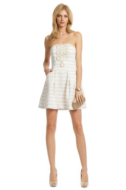 Item - White & Gold Style: 16260 Short Casual Dress Size 2 (XS)