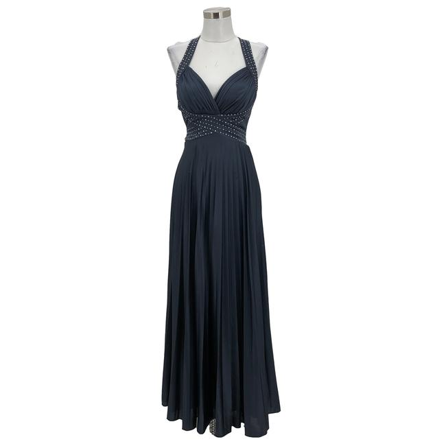 Item - Gray Blue XS N1520 Designer Maxi Studded Evening Long Formal Dress Size 2 (XS)