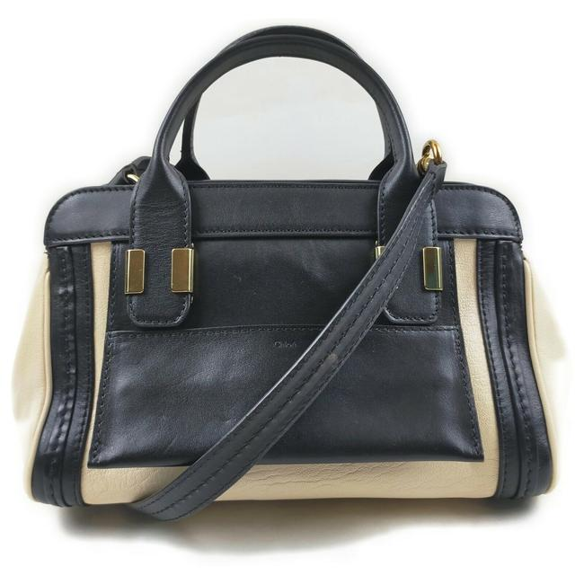 Item - Alice Color Two Way Style Purse Ivory and Black Leather Satchel
