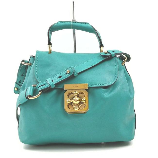 Item - Elsie Handle Two Way Style Purse Turquoise Leather/Gold Satchel