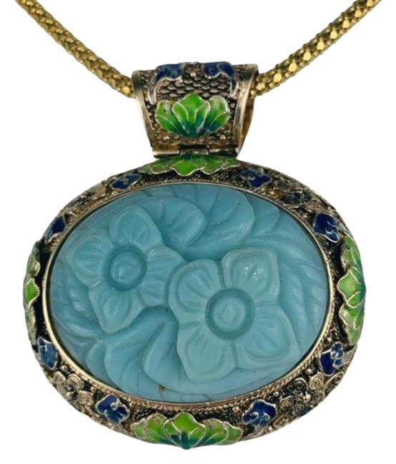 Item - Gold Blue & Green Vintage Akr Hand Carved Larimar Flower Enamel Enhancer Necklace