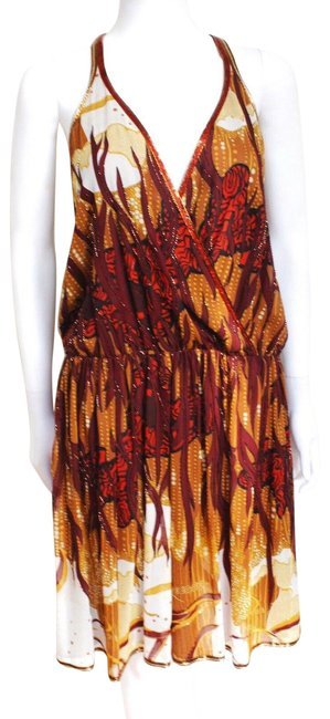 Item - Multicolor Racer Back Silk Gown/ Crystals Embroidered Sm Short Cocktail Dress Size 2 (XS)