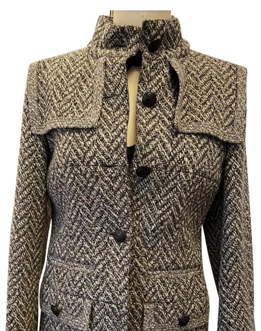 Item - Grey & Black Tweed Classic Chic with Cc Logo Buttons Fr42 Jacket Size 10 (M)