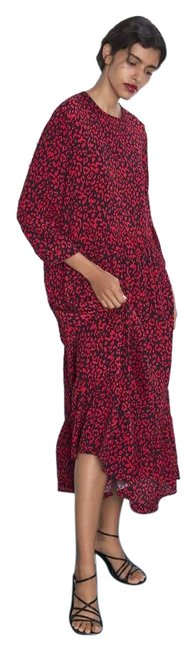 Item - Red/Black New Ruffled 8566/252 Long Casual Maxi Dress Size 6 (S)