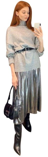 Item - Silver New M Metallic with Straps 2878/470 Long Cocktail Dress Size 10 (M)