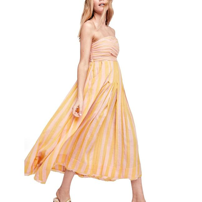 Item - Yellow Combo Stripe Me Up Strapless Midi Mid-length Casual Maxi Dress Size 2 (XS)