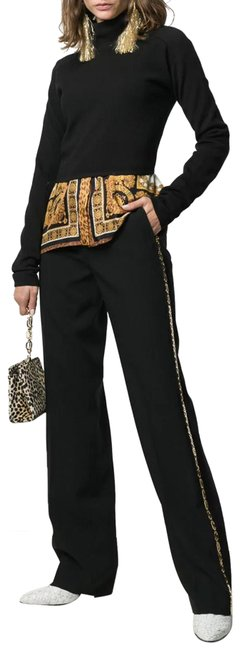 Item - Black and Gold 2019 Metal Greca Chain Tailored Trousers Pants Size 4 (S, 27)