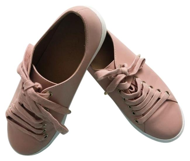 Item - Pink Faux Leather Sneakers Gold Hardware Flats Size US 7 Regular (M, B)