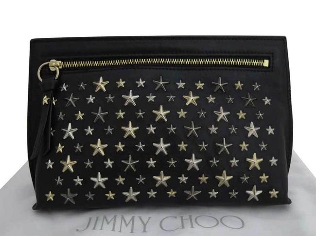 Item - Star Studs Gold Metal Fittings Second Women's Men's Black / Silver Leather Clutch