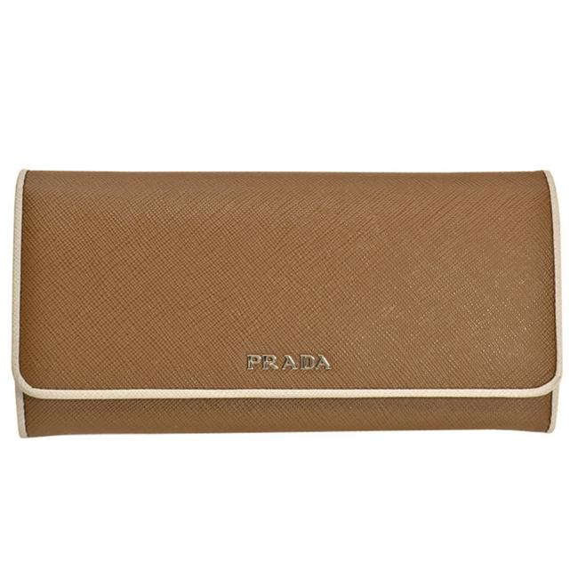 Item - Brown / Clear / White Long Silver Leather Bi-fold Pass Case Ladies Wallet