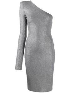 Item - Silver 2019 Micro Crystal One Shoulder  Night Out Dress