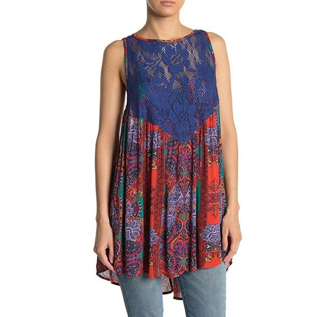 Item - Blue Count Me In Trapeze Mini Dress Tunic Size 6 (S)