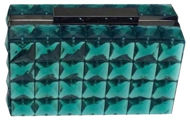 Item - Bcbg Lulu Square Stone Jewels Case Sea Green Crystal Resin Clutch