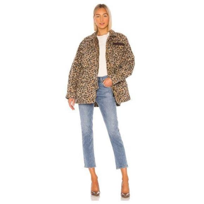 Free People Brown The Day Leopard Print Jacket Poncho/Cape Size 12 (L) Free People Brown The Day Leopard Print Jacket Poncho/Cape Size 12 (L) Image 1