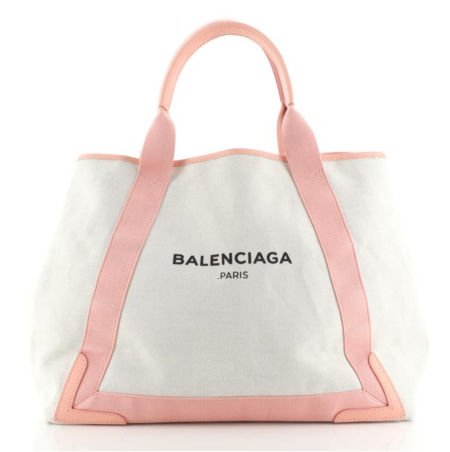Item - Cabas Navy with Leather Medium Neutral Pink Canvas Tote