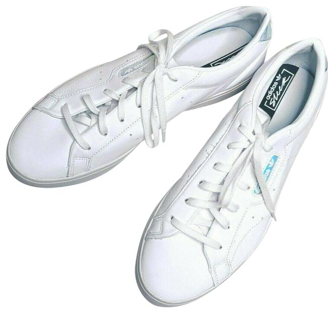 Item - White Sleek Leather Classic 3-stripe Holographic Design Sneakers Size US 10 Regular (M, B)