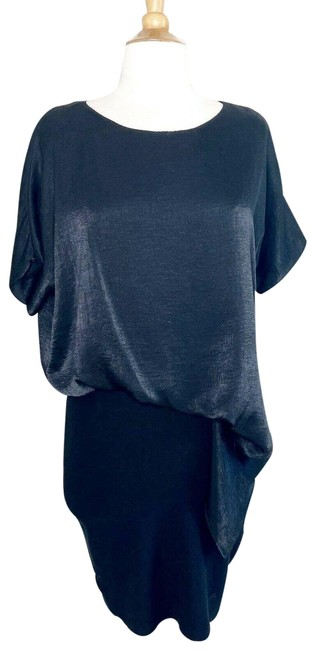 Item - Black Mixed Material Blouson Satin Top Knit Bottom Night Out Dress Size 6 (S)