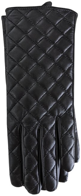 Item - Black Quilted Leather Gloves Large