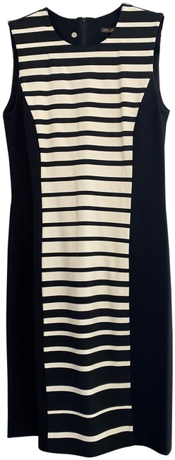Item - Black White Striped Accent Stretchy Sleeveless Mid-length Short Casual Dress Size 4 (S)