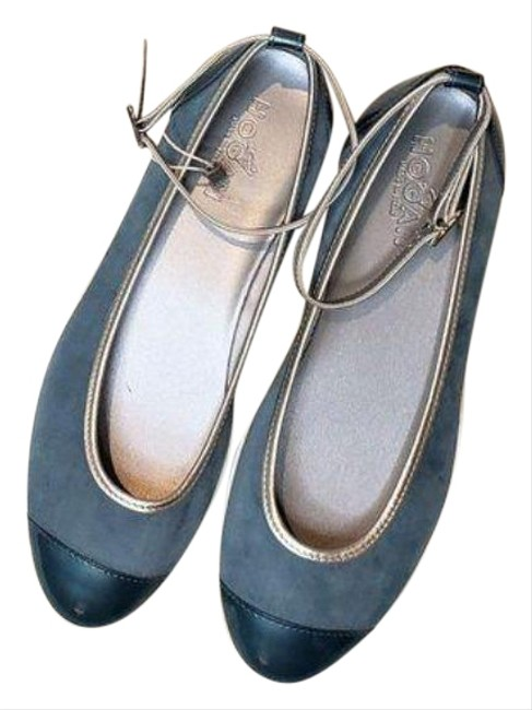 Silver Blue W Teal Ballerina Wedge W/Ankle Strap Flats