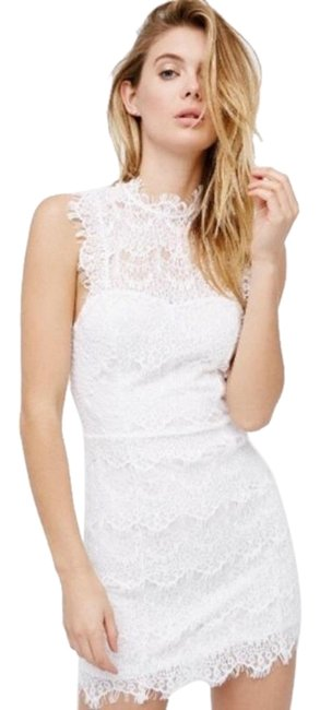 Item - White Daydream Lace Bodycon Slip Short Night Out Dress Size 8 (M)
