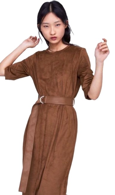 Item - Brown Faux Suede Midi Belt Mid-length Work/Office Dress Size 4 (S)