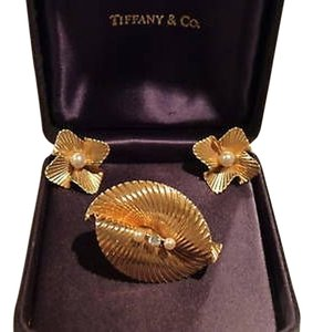 Other Vintage Tiffany Co. 14 Kt Pearls Diamond Earrings Pin