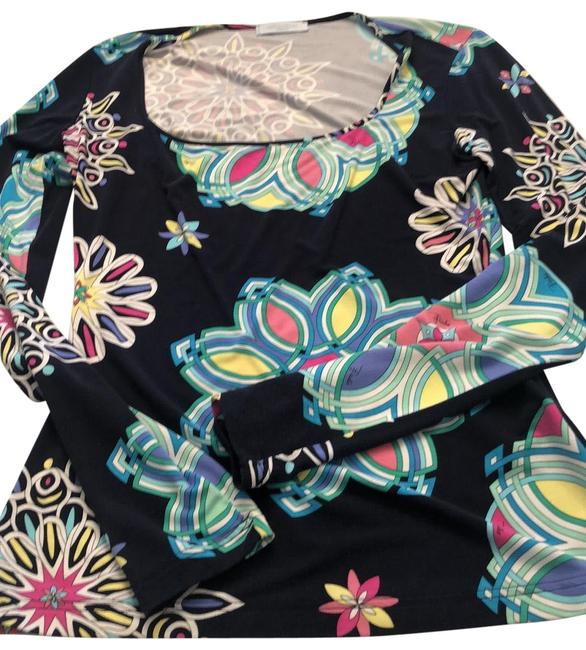 Emilio Pucci Navy Purple Pink and Yellow Blouse Size 12 (L) Emilio Pucci Navy Purple Pink and Yellow Blouse Size 12 (L) Image 1