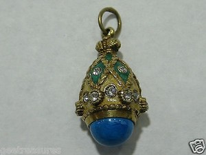 Faberge Turquoise Egg Pendent St Petersburg Russia Enamel
