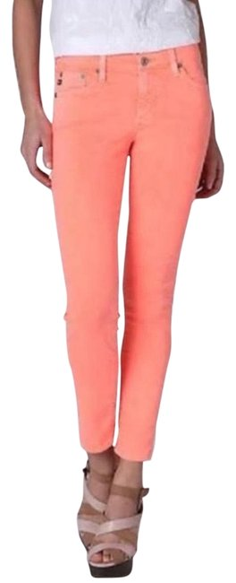 Item - Neon Pink / Orange Medium Wash Stevie Ankle Skinny Jeans Size 26 (2, XS)