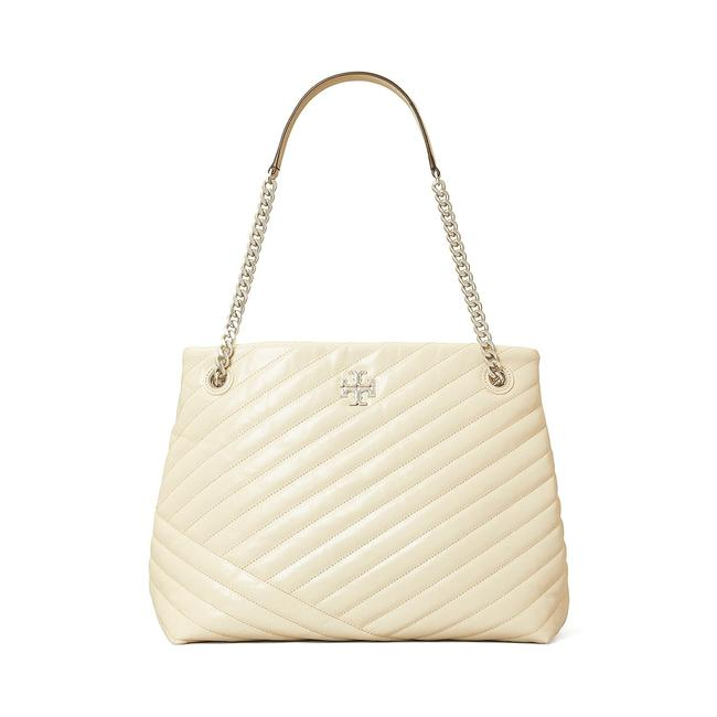 Item - Kira Chevron Quilted Distressed White Leather Shoulder Bag